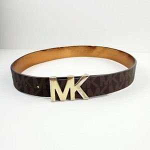 Michael Kors Womens Leather Brown Gold Buckle Belt
